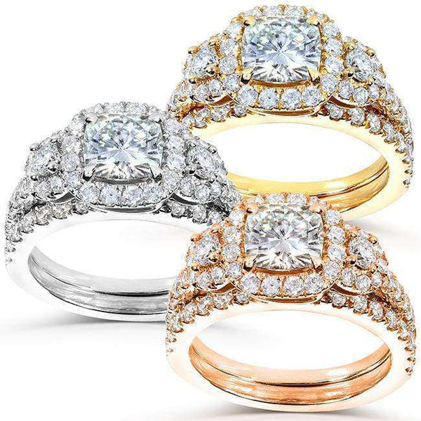 Kobelli Cushion-cut Moissanite Bridal Ring Set with Diamond 2 1/6 CTW 14k Gold