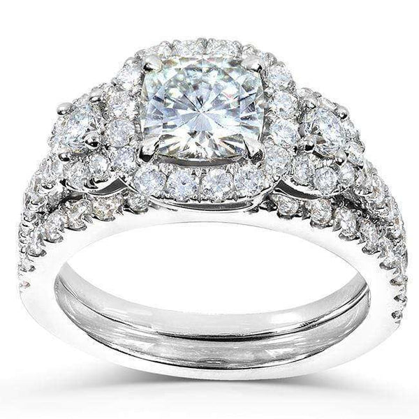 Kobelli Cushion-cut Moissanite Bridal Ring Set with Diamond 2 1/6 CTW 14k Gold MZ61833CU-ED_4.5_WG