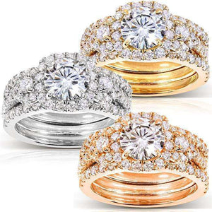 Round Moissanite Bridal Set with Diamond 2 1/3 CTW 14k Gold (3 Piece Set)