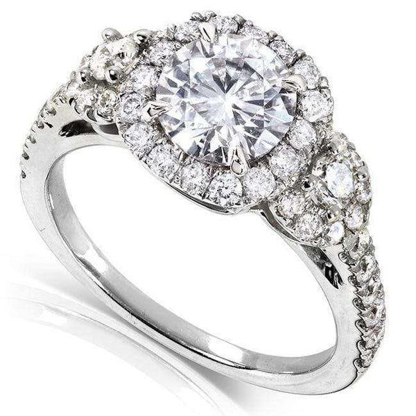 Kobelli Round Halo Style Diamond Engagement Ring 1 3/4 CTW in 14k White Gold