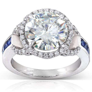 Kobelli Near-Colorless (F-G) Moissanite with Sapphire and Diamond Statement Ring In 14k Gold