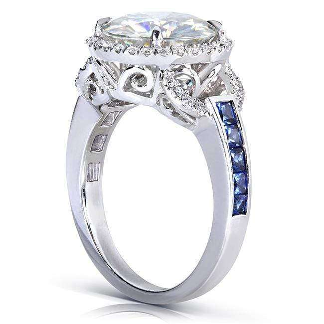 Kobelli Round-cut Moissanite Engagement Ring with Sapphire & Diamond 3 4/5 CTW 14k White Gold