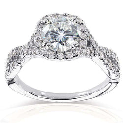 Kobelli Round Halo Style Diamond Engagement Ring 1 1/2 CTW in 14k White Gold