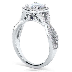 Round Halo Style Diamond Engagement Ring 1 1/2 CTW in 14k White Gold