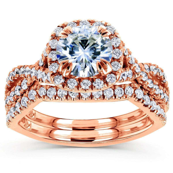 Kobelli Moissanite Bridal Set with Diamond 1 3/4 CTW 14k Rose Gold
