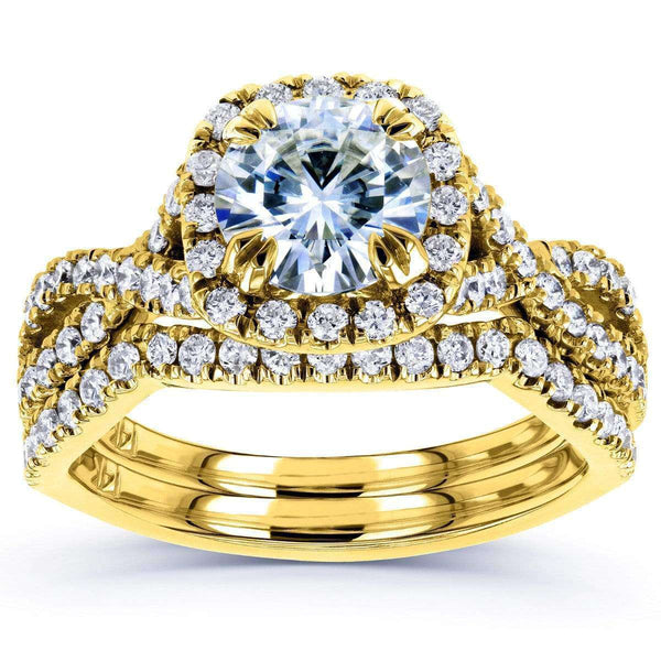 Kobelli Moissanite Bridal Set with Diamond 1 3/4 CTW 14k Yellow Gold