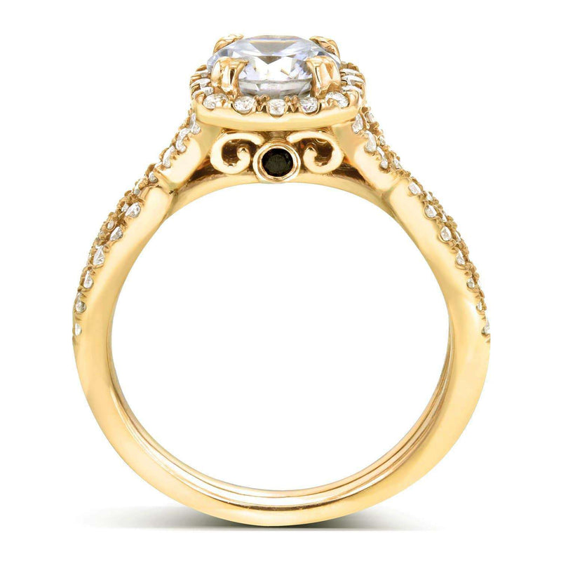 Kobelli Near-Colorless (F-G) Moissanite Bridal Set and Diamond 1 3/4 CTW 14k Yellow Gold