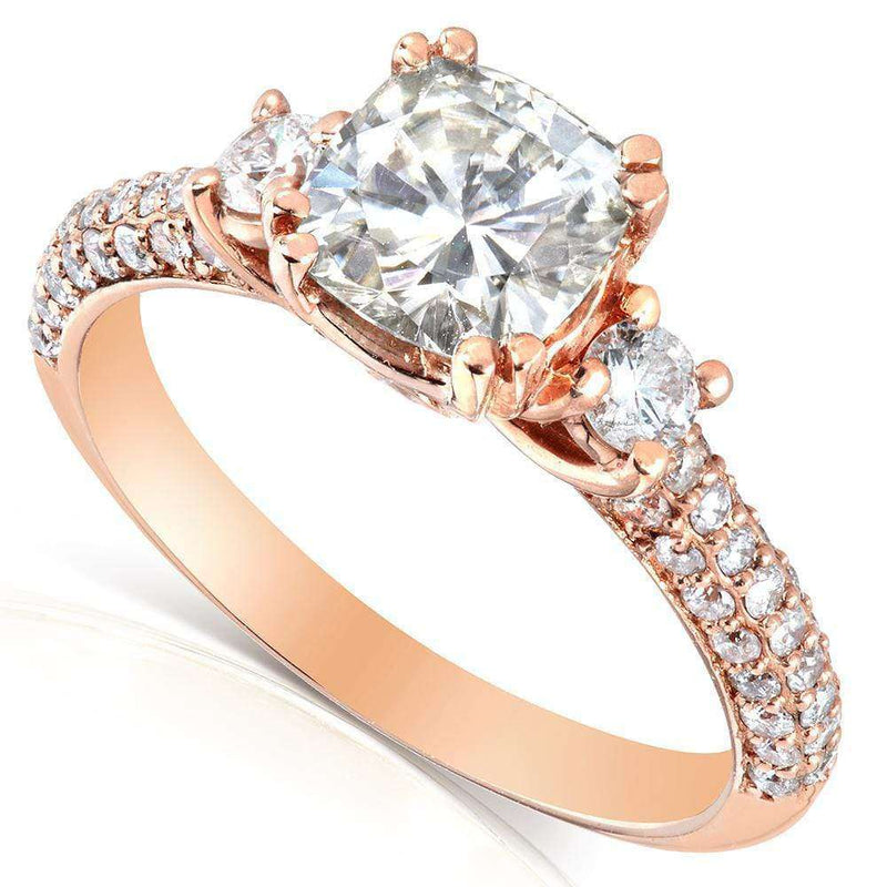 Kobelli Forever One (D-F) Moissanite Engagement Ring with Diamond 1 3/5 CTW 14k Rose Gold