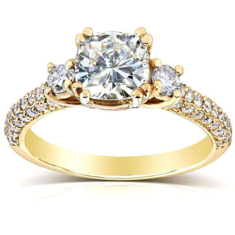 Kobelli Forever One (D-F) Moissanite Engagement Ring with Diamond 1 3/5 CTW 14k Yellow Gold