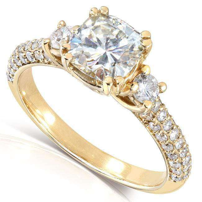 Kobelli Cushion-cut Moissanite Engagement Ring with Diamond 1 3/5 CTW 14k Gold
