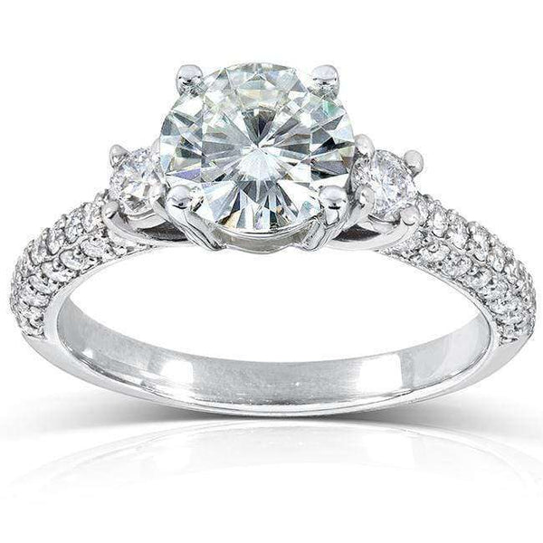 Kobelli Round-cut Moissanite Engagement Ring with Diamond 1 1/2 CTW 14k Gold