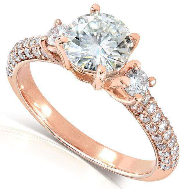 Kobelli Round-cut Moissanite Engagement Ring with Diamond 1 1/2 CTW 14k Gold MZ61838R-E_4.5_RG