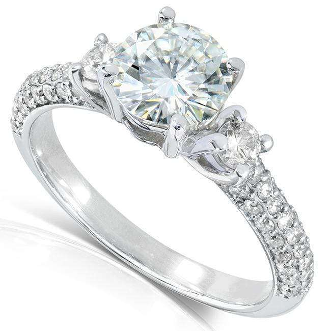 Compare Round-cut Moissanite Engagement Ring with Diamond 1 1/2 CTW 14k Gold - white-gold 4.5
