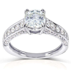 Forever One (D-F) Moissanite Engagement Ring with Diamond 1 5/8 CTW 14k White Gold