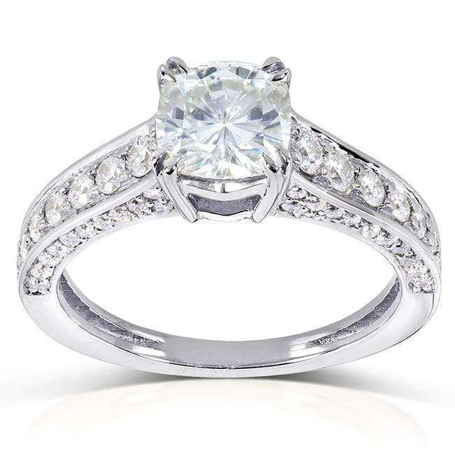 Discounts Cushion-cut Moissanite Engagement Ring with Diamond 1 5/8 CTW 14k Gold - white-gold 6