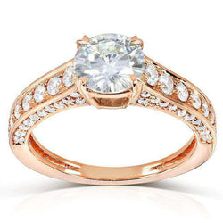 Kobelli Round-cut Moissanite Engagement Ring with Diamond 1 3/5 CTW 14k Gold MZ61842R-E_4.5_RG