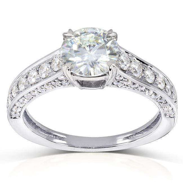 Kobelli Round-cut Moissanite Engagement Ring with Diamond 1 3/5 CTW 14k Gold MZ61842R-E_4.5_WG
