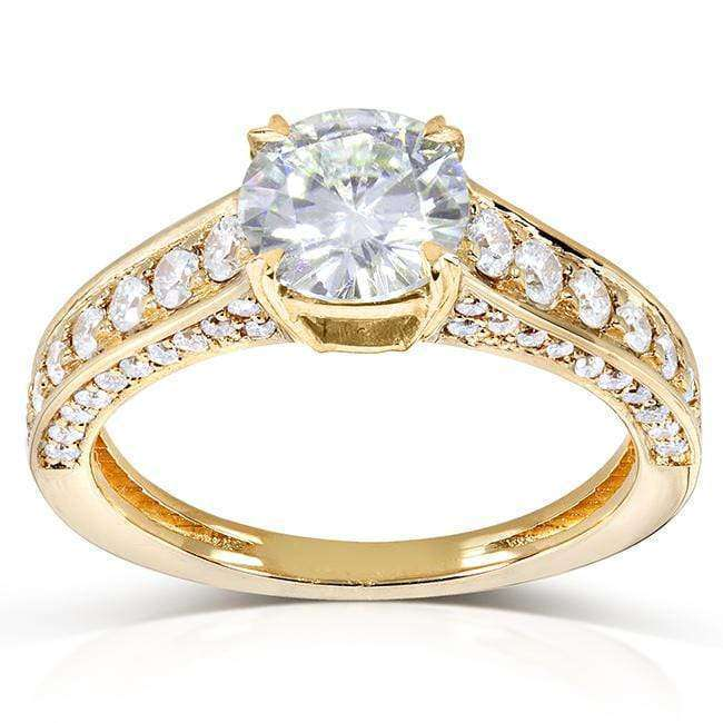 Kobelli Round-cut Moissanite Engagement Ring with Diamond 1 3/5 CTW 14k Gold MZ61842R-E_4.5_YG