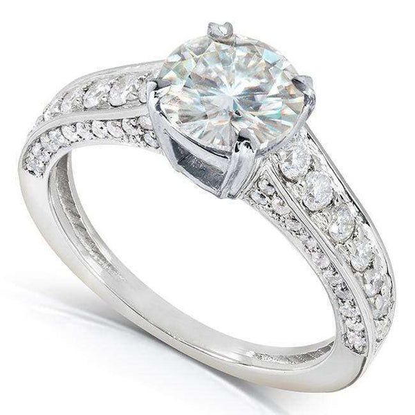 Kobelli Round-cut Moissanite Engagement Ring with Diamond 1 3/5 CTW 14k Gold