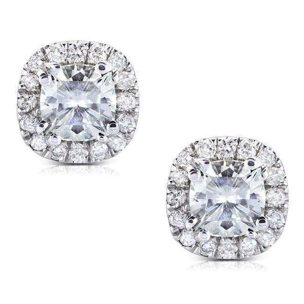 Kobelli Cushion-cut Moissanite and Diamond Earrings 1 1/5 CTW 14k Gold