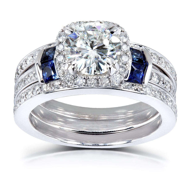 Kobelli Round Moissanite Bridal Set with Diamond and Sapphire 2 CTW Platinum (3 Piece Set)