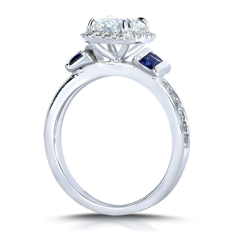 Kobelli Forever One (D-F) Moissanite Diamond & Blue Sapphire Bridal Set 2 CTW 14k White Gold (3 Piece Set)