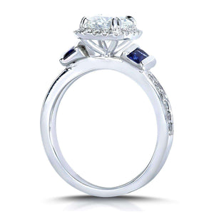Kobelli Near-Colorless (F-G) Moissanite with Diamond & Blue Sapphire Wedding Rings Set 2 Carats TW in 14k White Gold (3 Piece Set)