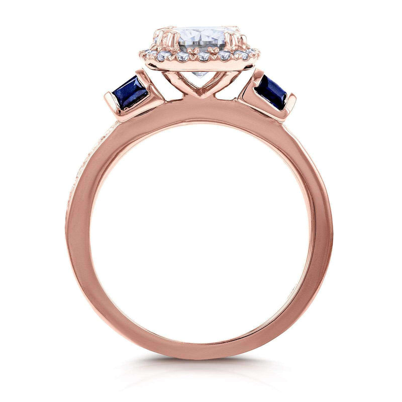 Kobelli Round-cut Moissanite Diamond & Blue Sapphire Engagement Ring 1 3/5 Carat (ctw) in 14k Rose Gold