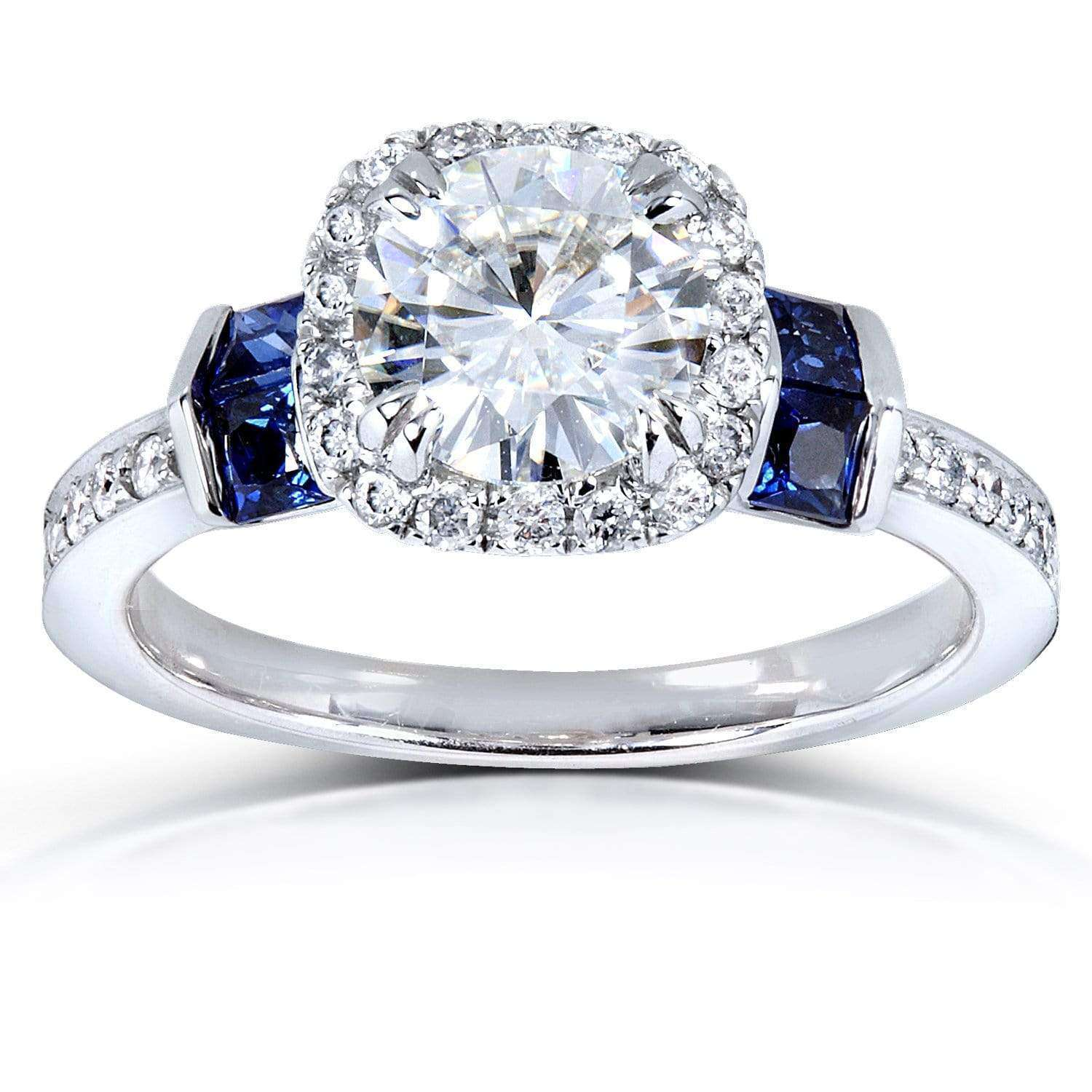 Best Round Moissanite Engagement Ring with Diamond and Sapphire 1 3/5 CTW 18k White Gold - 6.5