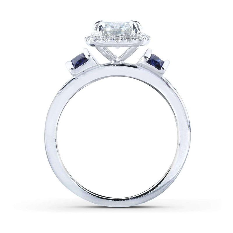Kobelli Forever One (D-F) Moissanite Diamond & Blue Sapphire Bridal Set 1 3/4 CTW 14k White Gold