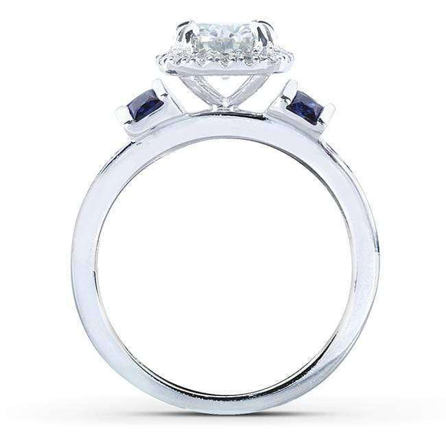 Kobelli Round-cut Moissanite Engagement Ring with Diamond and Sapphire 1 3/5 CTW 14k White Gold