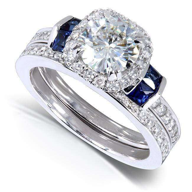 Kobelli Round-cut Moissanite Bridal Set with Diamond & Sapphire 1 3/4 CTW 14k White Gold
