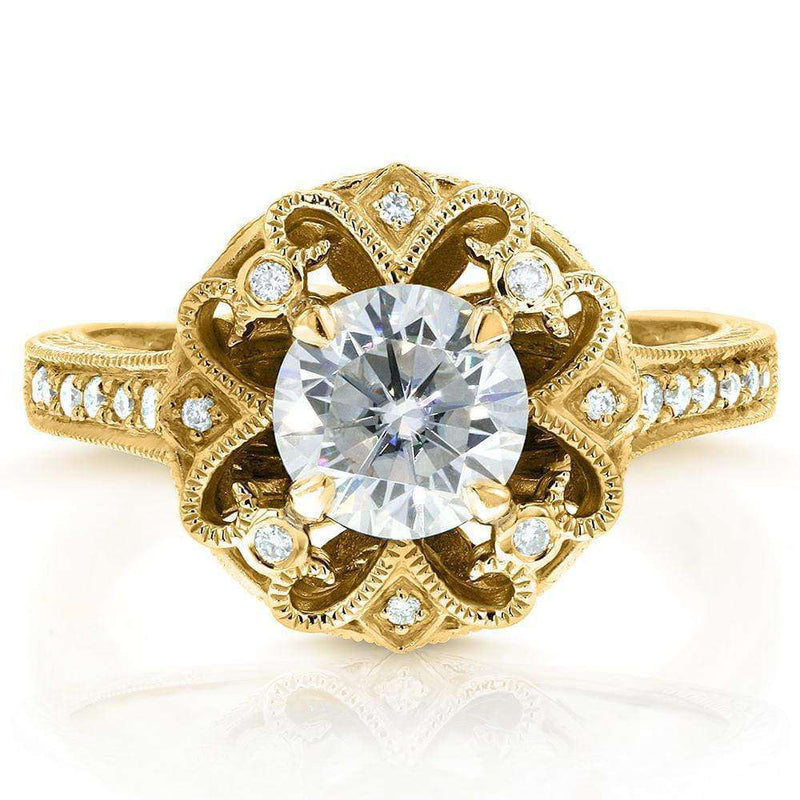 Kobelli Antique Round Moissanite Engagement Ring with Diamond 1 1/5 CTW 14k Yellow Gold