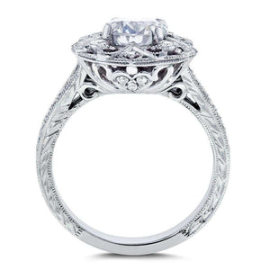Kobelli Antique Forever One (D-F) Moissanite Engagement Ring with Diamond 1 1/5 CTW 14k White Gold