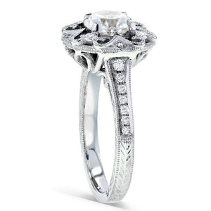 Antique Forever One (D-F) Moissanite Engagement Ring with Diamond 1 1/5 CTW 14k White Gold