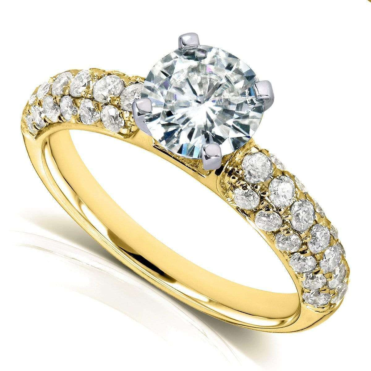 Cheap Round Moissanite Engagement Ring with Micro-Pavé Diamond 1 3/4 CTW 14k Gold - yellow-gold 8.5