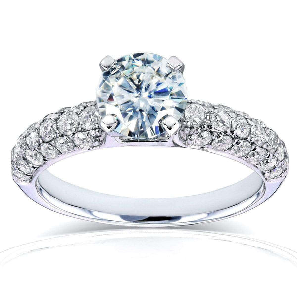 Kobelli Round Moissanite Engagement Ring with Micro-Pavé Diamond 1 3/4 CTW 14k Gold