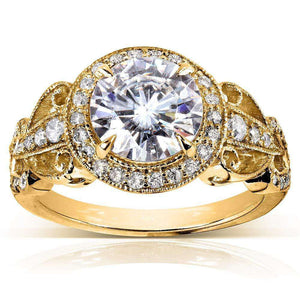 Art Deco Round Moissanite Engagement Ring with Diamond 1 7/8 CTW 14k Yellow Gold