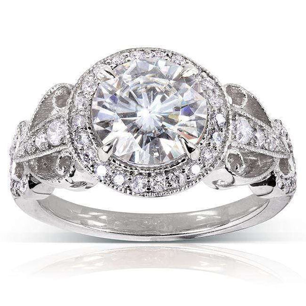 Kobelli Art Deco Round Moissanite Engagement Ring with Diamond 1 7/8 CTW 14k White Gold