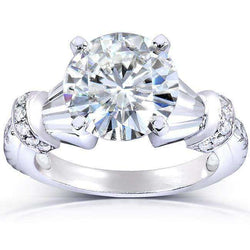 Kobelli Round-cut Moissanite Engagement Ring with Diamond 3 1/4 Carat 14k Gold MZ61875R-E_4.5_WG