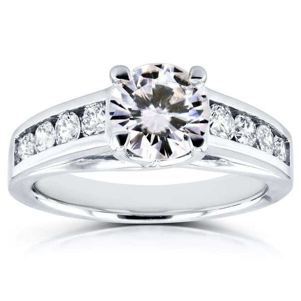 Kobelli Round Cut Moissanite Engagement Ring with Diamond 1 1/2 CTW 14k White Gold