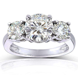 Kobelli Round Moissanite Three-Stone Engagement Ring 2 1/2 CTW Platinum