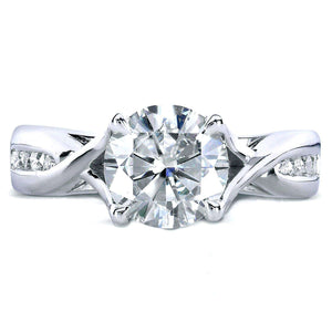 Kobelli Forever One (D-F) Moissanite and Diamond Twist Engagement Ring 1 1/5 CTW in 14k White Gold