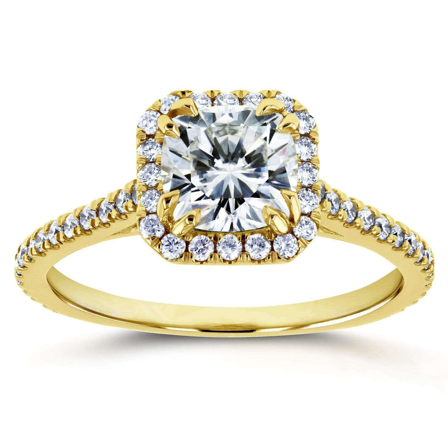 Reviews Moissanite and Diamond Halo 1 2/5 CTW 14k Yellow Gold Ring - 9