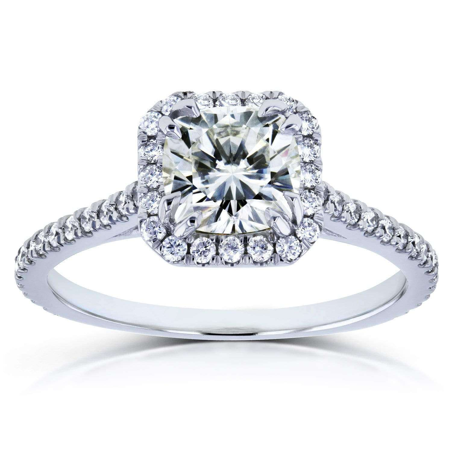Reviews Moissanite and Diamond Halo 1 2/5 CTW in 14k White Gold Ring - 11