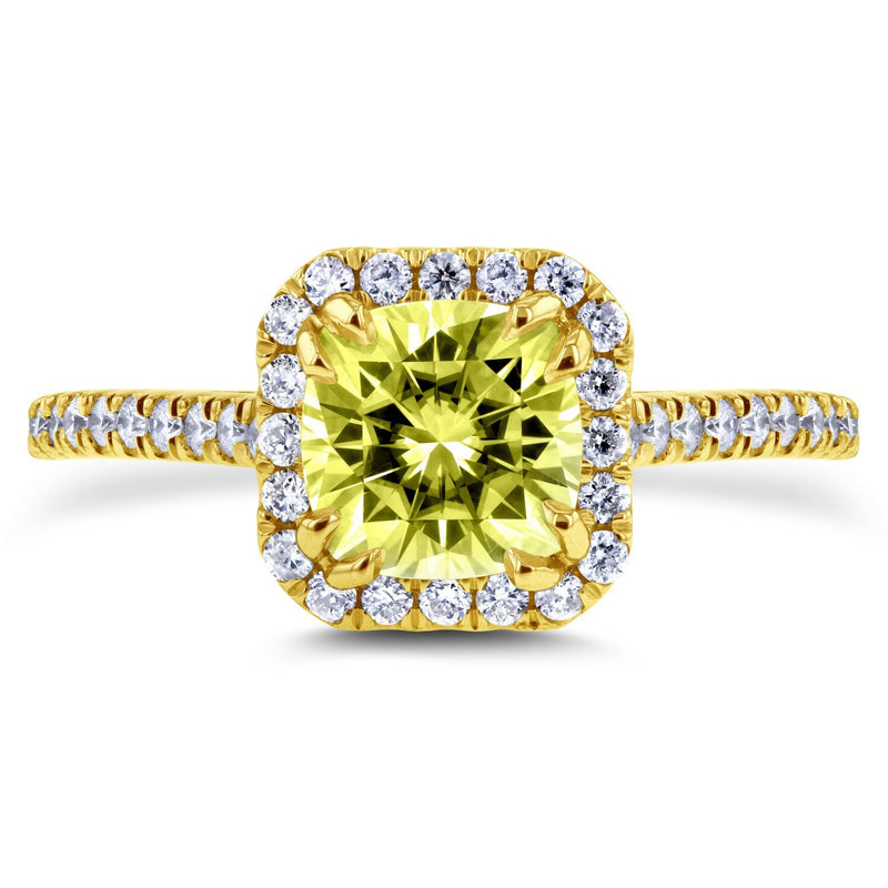 Fancy Color Moissanite and Diamond Halo Engagement Ring 1 2/5 CTW in 14K Yellow Gold
