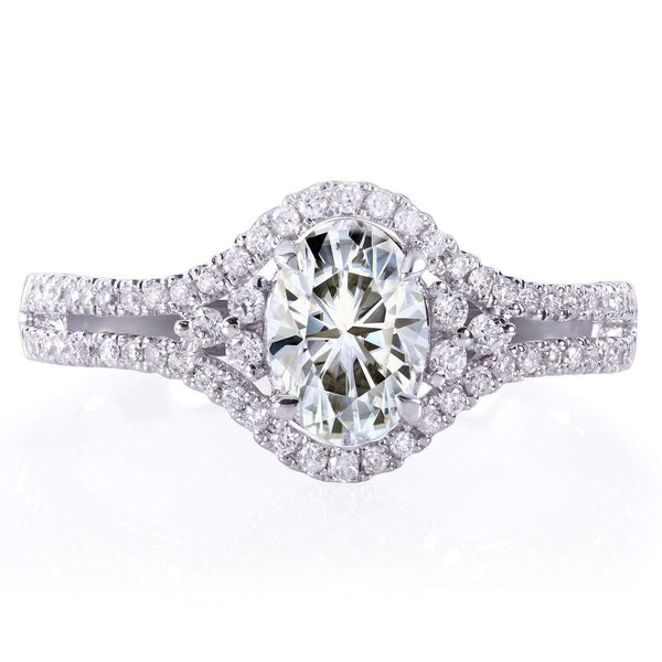 Kobelli Oval Moissanite Engagement Ring with Diamond 1 1/6 CTW in 14k White Gold