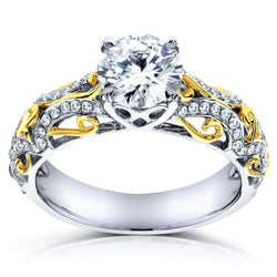 Kobelli Round Cut Moissanite Engagement Ring with Diamond 1 1/6 CTW 14k Two Tone Gold