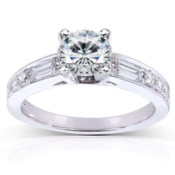 Kobelli Round Moissanite Engagement Ring with Diamond 1 1/2 CTW 14k White Gold
