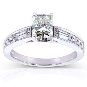 Radiant Moissanite Engagement Ring with Diamond 1 3/4 CTW in 14k White Gold